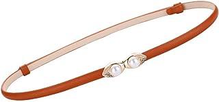 【CaserBay】女式修身柔软真皮腰带薄腰带金色纯色珍珠状皮带扣腰带