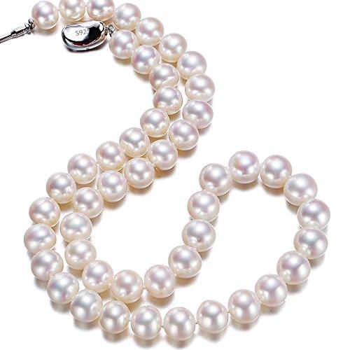 骏禾珠宝 永恒 高亮泽天然淡水珍珠项链近圆强光白色锁骨妈妈礼物女 (8-9mm 白色)