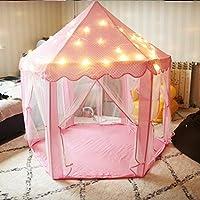 儿童帐篷 防蚊帐篷 室内游戏玩具屋 女孩梦幻公主房 宝宝分床神器 小帐篷 (粉色帐篷+小星星灯)