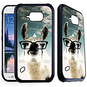 S6 Active - 橡胶 TPU 手机壳 Black - Hipster Llama Geek Glass