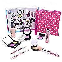 Seckton 11 件装儿童化妆套装,*化妆品套装,小公主玩扮的*个化妆套装,7-12岁幼儿的生日礼物玩具... 波尔卡圆点