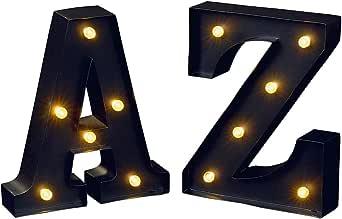 moses. 出版社 GmbH 发光字母 A 和 Z libri_x | LED 装饰字母套装用于悬挂 | 16 厘米,金属,黑色