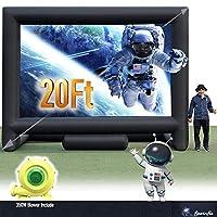 24 英尺(约 61 米)充气大型电影屏幕户外 - 前后投影 - 便携式充气投影屏幕适合大型派对,易于安装