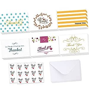 10.16 x 15.24 cm Thank You 贺卡带 V 形翻盖信封和贴纸套装 - 48/24 各种套装感谢您的笔记卡 6 种复古手写感谢您设计 SWISSELITE 48 Postcard Thank You Cards Set