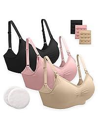 3条装产妇哺乳文胸适用于 motherhood *喂养–包括可重复使用竹哺乳垫和文胸 extenders