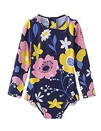 女婴连体泳衣长袖泳衣 UPF 50+/*衣