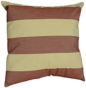 Mansion Striped Outdoor Pillow Burgundy and Tan 18-Inch
