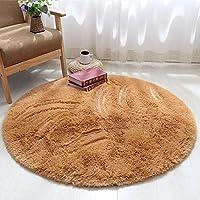 圆形地毯可爱少女公主粉瑜伽垫卧室吊篮藤椅电脑椅梳妆台落地镜垫长绒直径200厘米(送心形垫) 新卡其色