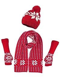Bienvenu 女式冬季保暖针织雪花帽子手套和围巾冬季套装