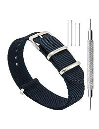 civo 手表 bands nato 高级弹道尼龙表带不锈钢搭扣18?mm 20?mm 22?mm 黑色 20mm