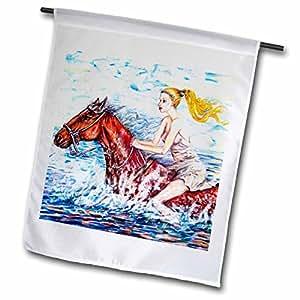 yelena rubin 画作动物人物和 seascapes–spirited Horse with bare 后 Rider SHE having FUN 骑马和 getting 湿 ON A HOT 夏日–旗帜 12 x 18 inch Garden Flag