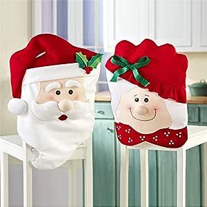GIM 圣诞装饰,圣诞厨房椅套,圣诞厕所座椅套和地毯套装,圣诞围裙 New Mr & Mrs Santa for Chair GIM-CD-002