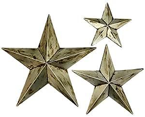 "Bellaa 27048 金属墙壁之星 24 英寸 18 英寸和 12 英寸 3 件套 Silver 20768 12""18""24"""