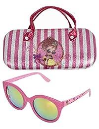 儿童太阳镜 - 女孩 * 紫外线太阳镜 W 附赠 FUZZY 手提箱,紫红色,褐红色,褐红色,褐红色,褐色调
