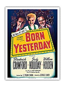 "Pacifica Island Art Born Yesterday - Starring Broderick Crawford、Judy Holliday 和 William Holden - George Cukor 指挥 - 复古电影海报 c.1950 - 艺术大师版画 9"" x 12"" PRTA4128"