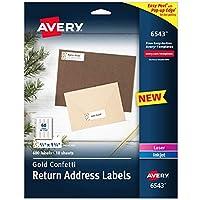 Avery Easy Peel Return 地址标签,2/3 英寸 x 1-3/4 英寸,金色五彩纸屑设计,600 个标签(6543)