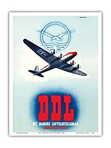 "Pacifica Island Art DDL - 丹麦航空公司(Det Danske Luftfartselskab) - Finn Bjørvig 创作的复古航空公司旅行海报 1948 - 艺术版画 9"" x 12"" PRTA4358"