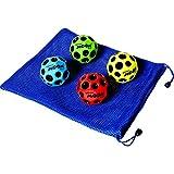 Waboba MOON Extreme Bounce Bundle of 4 Balls in 4 Neon Colors BONUS Soft Nylon Net Drawstring 9 x 12? Royal Blue Carry Bag