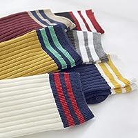 【秋冬双针堆堆袜】女士双针堆堆袜 日系二杠罗口条纹中筒袜 (黑白红黄灰藏青色6双装)