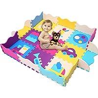 HAN-MM 婴儿泡沫垫,带围栏*爬行垫婴儿瓷砖游戏拼图垫,带更柔软更厚的 EVA 泡沫垫适合儿童儿童玩耍室/托儿所收腹时间和爬行