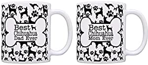 爱狗人士礼物 Best Chihuahua Mom Dad Ever 小狗套装 礼物咖啡杯茶杯 Bone Pattern 11 盎司