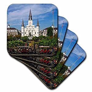 3dRose cst_90466_2 St. Louis Cathedral, New Orleans, Louisiana-Us19 Dfr0091-David R. Frazier-Soft Coasters, Set of 8