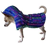 Yani's Gifts 巴哈斗篷狗狗衣服,温暖的狗狗 Serape,舒适正品巴哈狗连帽衫,狗狗的舒适Jerga斗篷,蓝色多色*小狗连帽衫 蓝色,多色 小号
