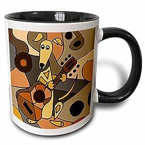 All Smiles Art Dogs - Funny Greyhound Dog Playing Guitar Abstract Art - Mugs 黑色/白色 11-oz Two-Tone Black Mug