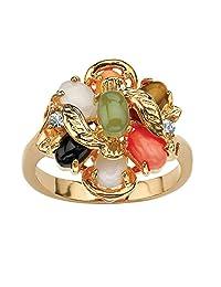 棕榈海滩珠宝 18K 镀金椭圆形正品绿玉、老虎眼、珊瑚、缟玛瑙和蛋白石戒指 白色