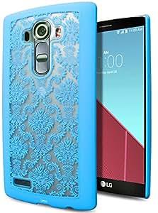 LG G4 手机壳,Cimo [哑光] 优质纤薄弹性 TPU 手机壳适用于 LG G4 (2015) G4-DMS-BLU 花缎蓝色