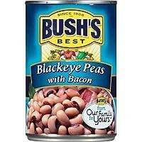 Bush's Best Crowder Peas Blackeye Peas with Bacon 16 oz (Pack of 12)