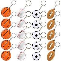 PROLOSO 20 件棒球足球高尔夫钥匙扣 男孩儿童泡沫运动钥匙圈篮球排球足球主题派对礼物 混合