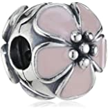 Pandora 潘多拉 粉色樱花珐琅夹 791041EN40