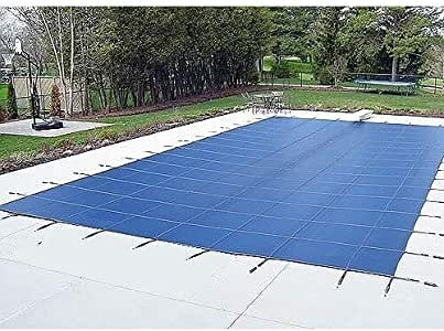 Water Warden Pool Safety Cover Blue with Left Step 16 by 32-Feet Pool