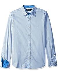 Nautica 男式长袖弹力双色斜纹修身纽扣衬衫