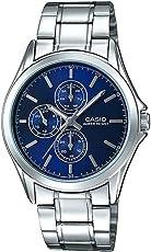 Casio 卡西欧 MTP-V302D-2A 男式多手表带不锈钢蓝色表盘模拟手表