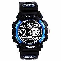 Disney 迪士尼 防水夜光儿童手表男孩蓝色米奇电子表 多功能运动表男童学生手表80008-1 蓝色