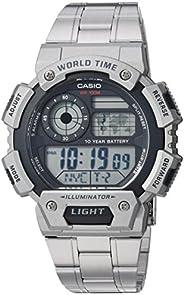Casio 卡西欧男式'经典'石英树脂不锈钢休闲手表,颜色:银色调(型号:AE-1400WHD-1AVCF)