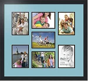 ArtToFrames 拼贴照片框双垫,带 7 个开口和黑色缎框。 法国蓝 7-5x7 Double-Multimat-417-716/89-FRBW26079