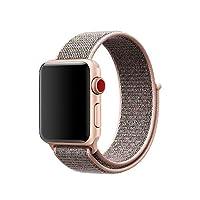 智能手表带闪光运动环,Uitee *新编织尼龙表带适用于苹果手表系列 3/2/1 38MM/42MM 3/2/1,舒适轻便,带仿织物手感腕带替换经典搭扣lj430 Watch 42MM 粉色沙子