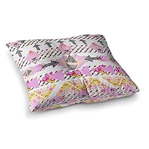 "KESS InHouse Danii Pollehn ""现代条纹""粉色几何方形地枕头 多种颜色 26"" x 26"" DP1021ASF02"