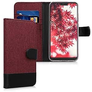 kwmobile 钱包式保护套适用于小米 Redmi 6 Pro/Mi A2 Lite - 面料和 PU 皮革翻盖盖盖带卡槽和支架 - 深红色黑色45619.20_m001172 .dark 红色 黑色