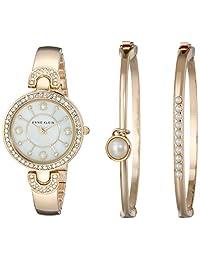 Anne Klein 女士 AK/1960GBST 施华洛世奇水晶 金色手镯表和手链套装