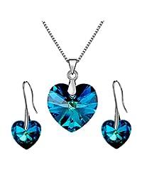 Les Bohémiens 鸢尾蓝或紫色天使心形吊坠项链耳环施华洛世奇珠宝套装 - 盒子,卡,信封方便送礼 百慕大蓝色套装