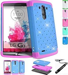 LG G3 手机壳,ToPerk 手机套 (Spot Diamond) Sky Blue