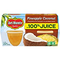 Del Monte Pineapple Coconut Plastic Fruit Cups Made with Real Fruit Juice, 4.4 Ounce (Pack of 24)