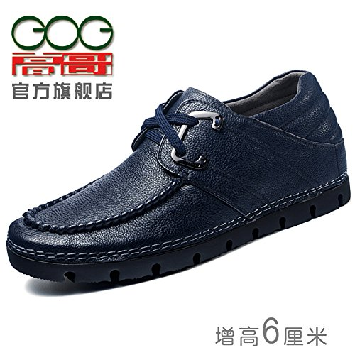 Gog 高哥 男士增高鞋男式休闲鞋子皮鞋 高哥隐形内增高男鞋6cm秋季软底