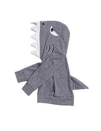 ZOELNIC 中性款婴儿秋冬季鲨鱼连帽运动衫男婴女孩连帽衫带袋鼠式袖口口袋和鲨鱼鳍
