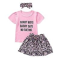 女童夏季字母 T 恤短袖上衣粉色豹纹蝴蝶结连衣裙连衫裤短裤儿童女孩服装套装