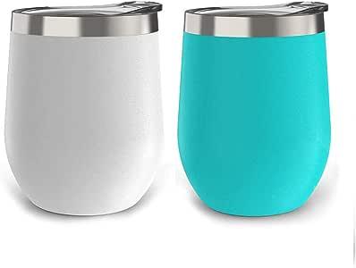 2 件装酒杯不锈钢杯酒杯 340.19 克双层真空保温酒杯带盖杯,适用于酒瓶、咖啡、饮料、香槟、鸡尾酒 Cyan & White